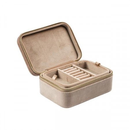 Dark VELVET JEWELLERY BOX CAMEL