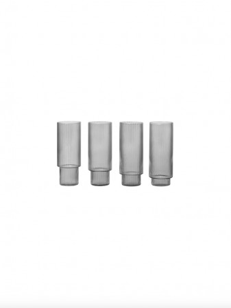 Ferm Living - Ripple Long Drink Glasses - Set of 4 - Smoked grey